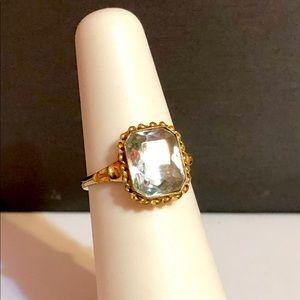 Vintage 1940s 10k yellow gold aquamarine ring